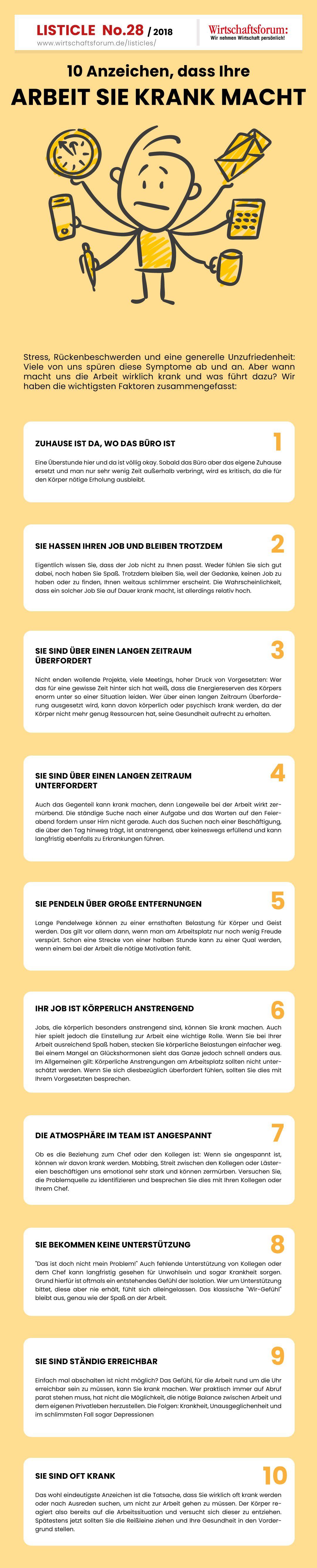 10 Anzeichen Dass Ihre Arbeit Sie Krank Macht